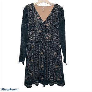 Xhilaration Green Lace Long Sleeve Holiday Dress